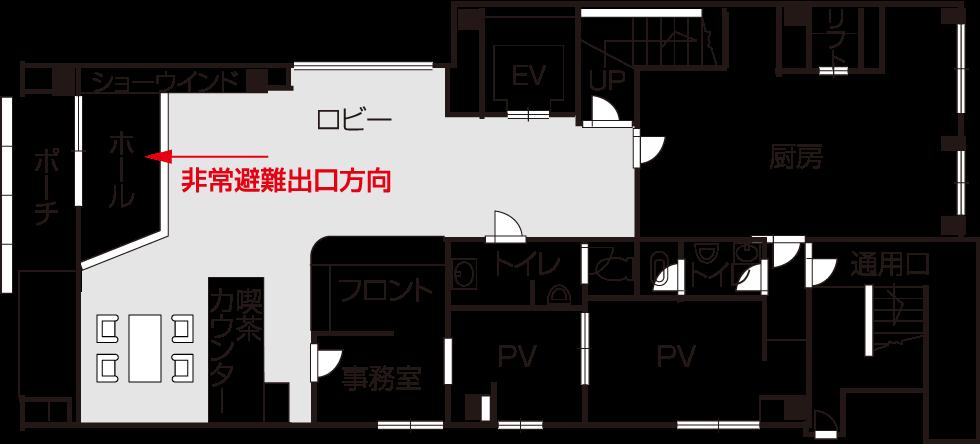 ・喫茶カウンター・フロント・ロビー・トイレ