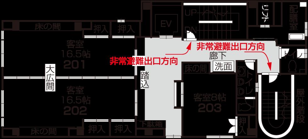 ・大広間・お部屋(八畳)・トイレ